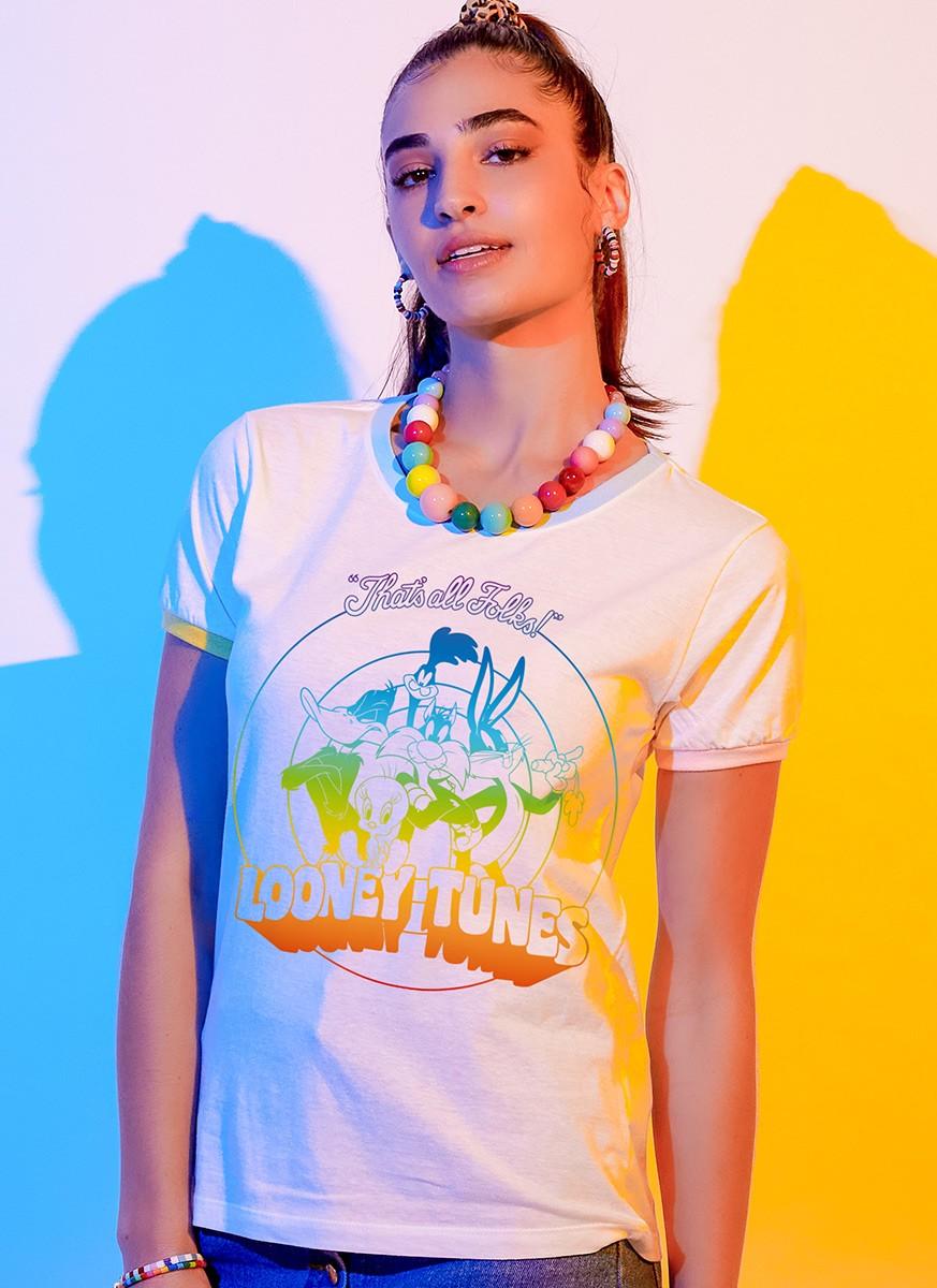 Camiseta Ringer Looney Tunes Personagens Rainbow