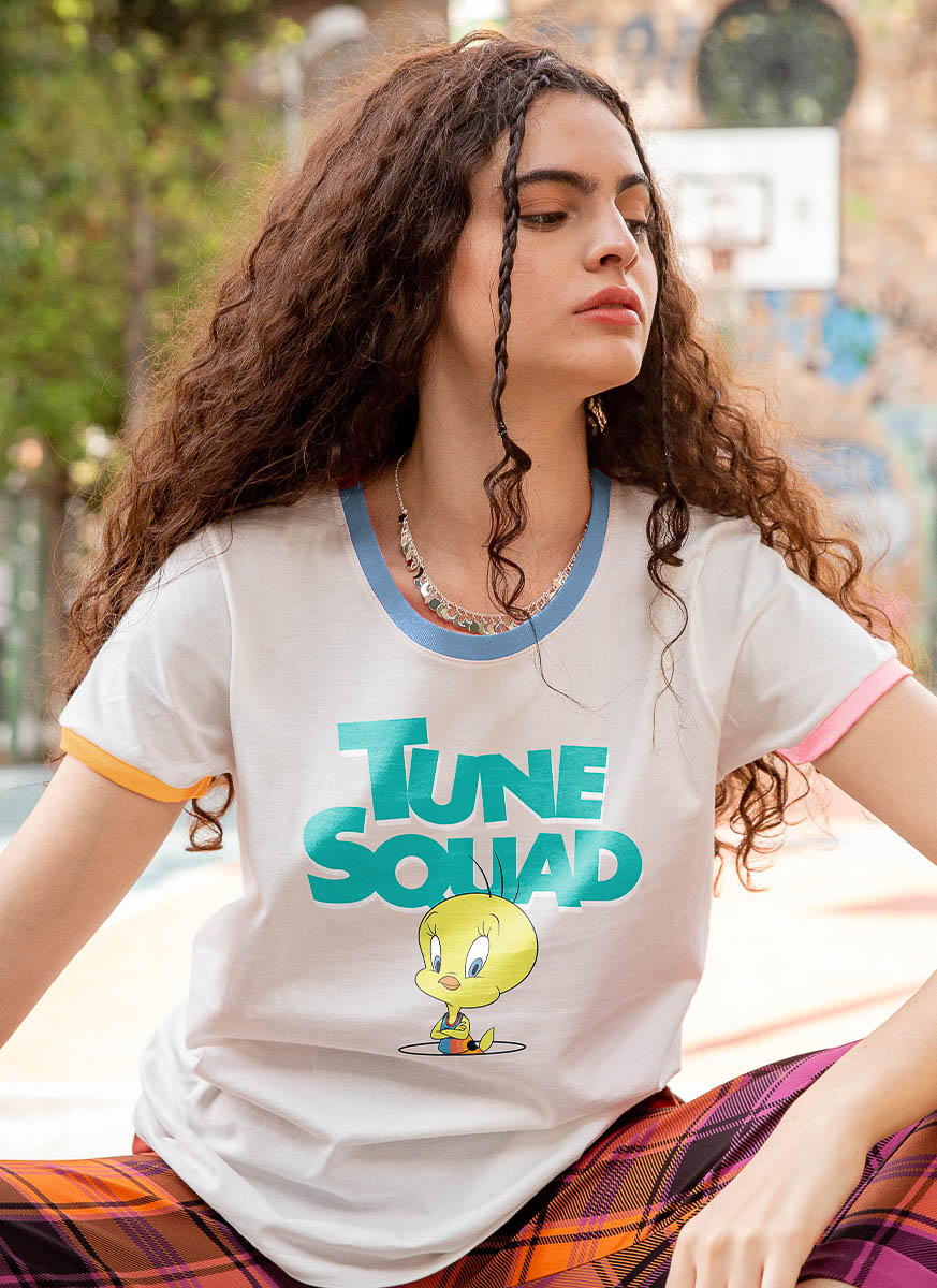 Camiseta Ringer Space Jam Tune Squad Piu-Piu