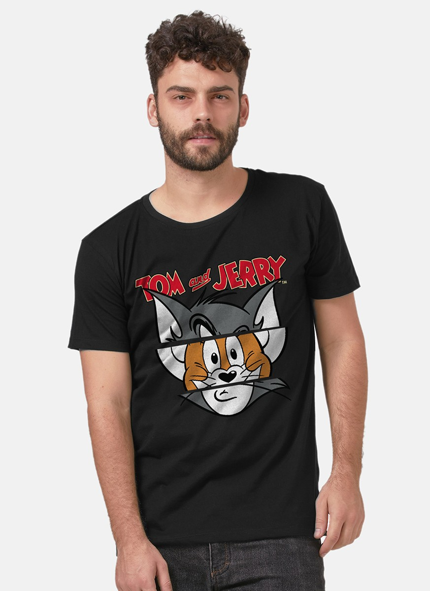 Camiseta Tom e Jerry Faces Black