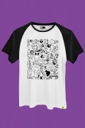 Camiseta Raglan Cartoon 90 Universo P&B