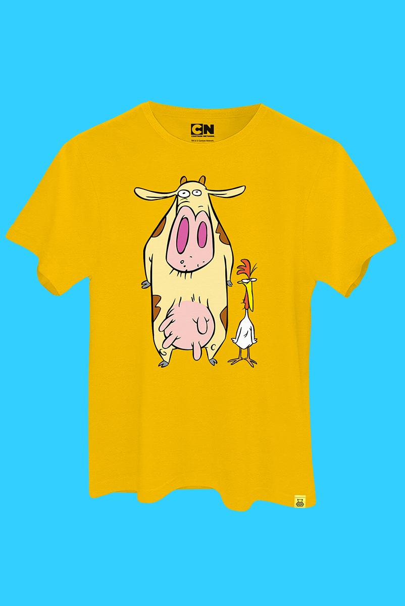 Camiseta A Vaca e o Frango Pose