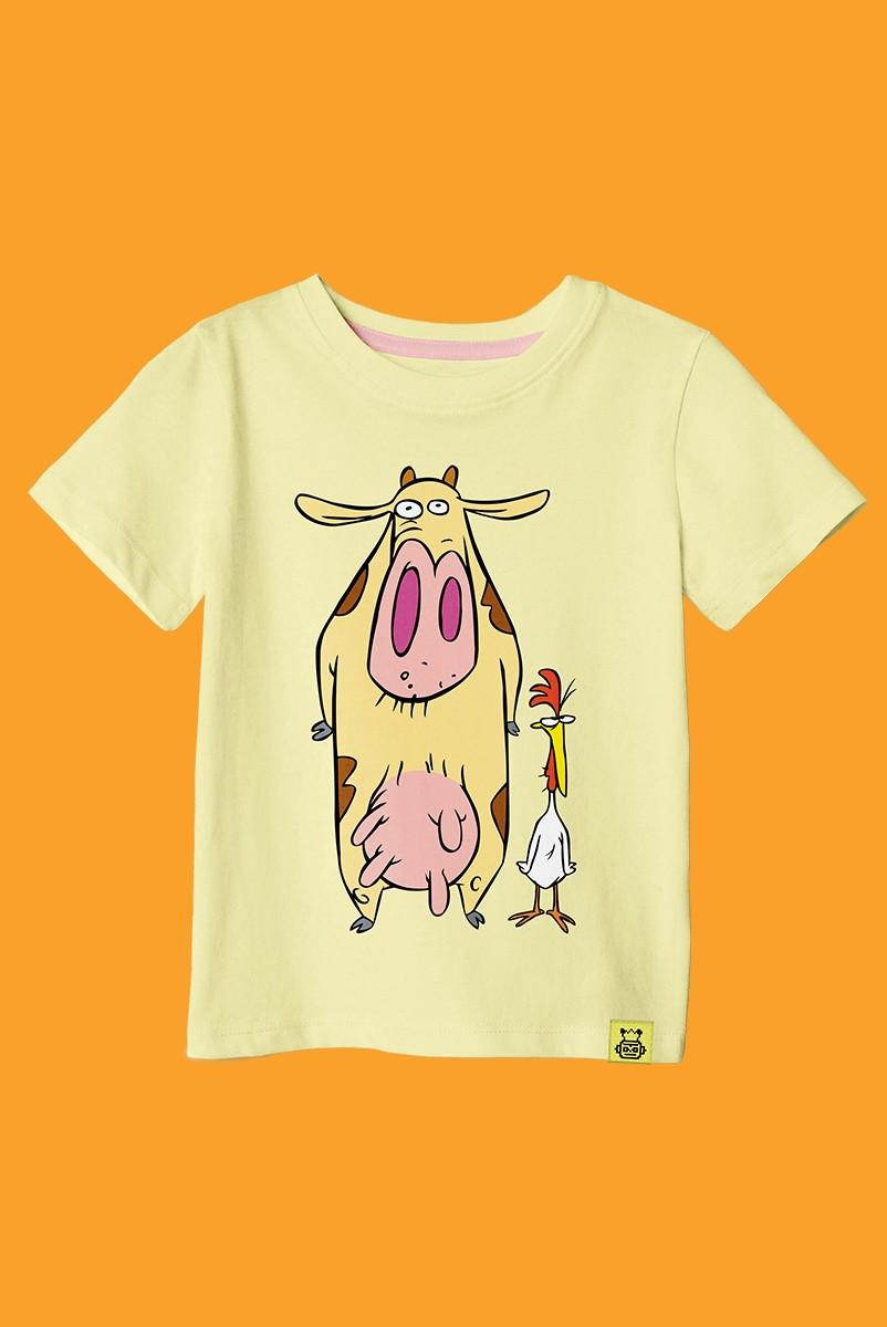 Camiseta Infantil A Vaca e o Frango Pose