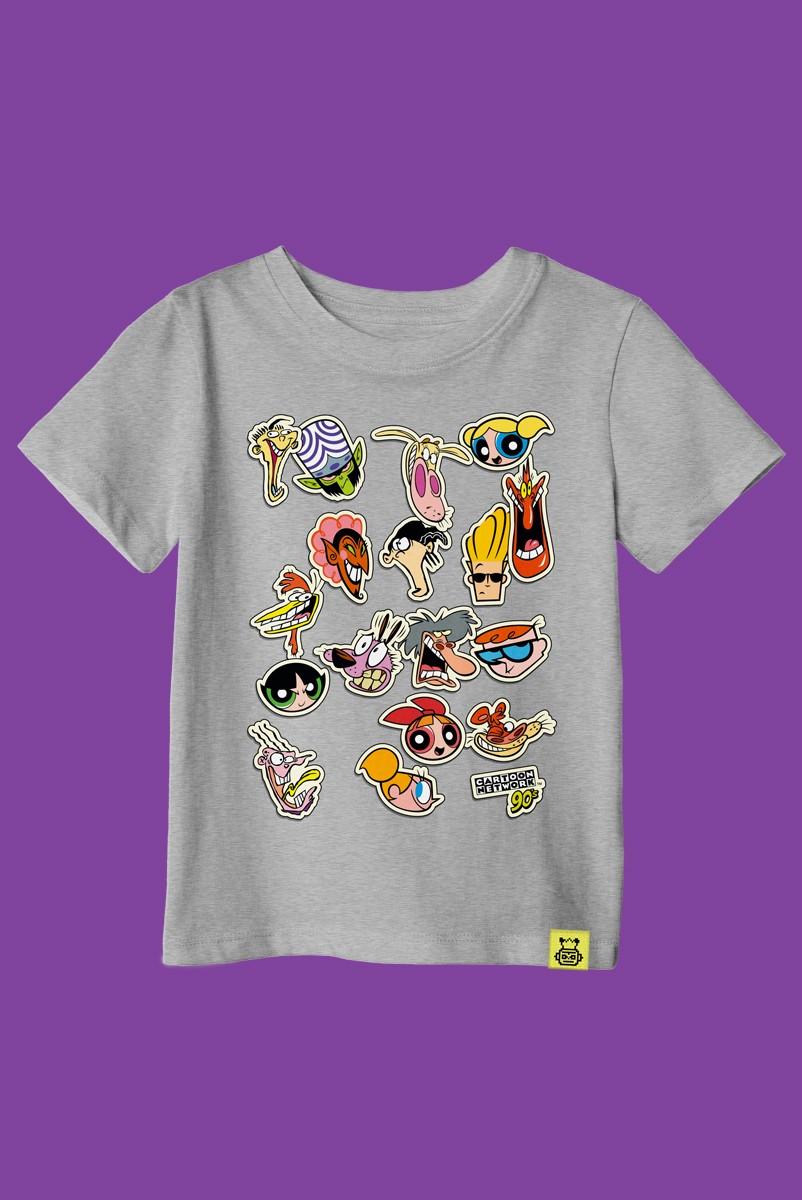 Camiseta Infantil Cartoon 90 Stickers