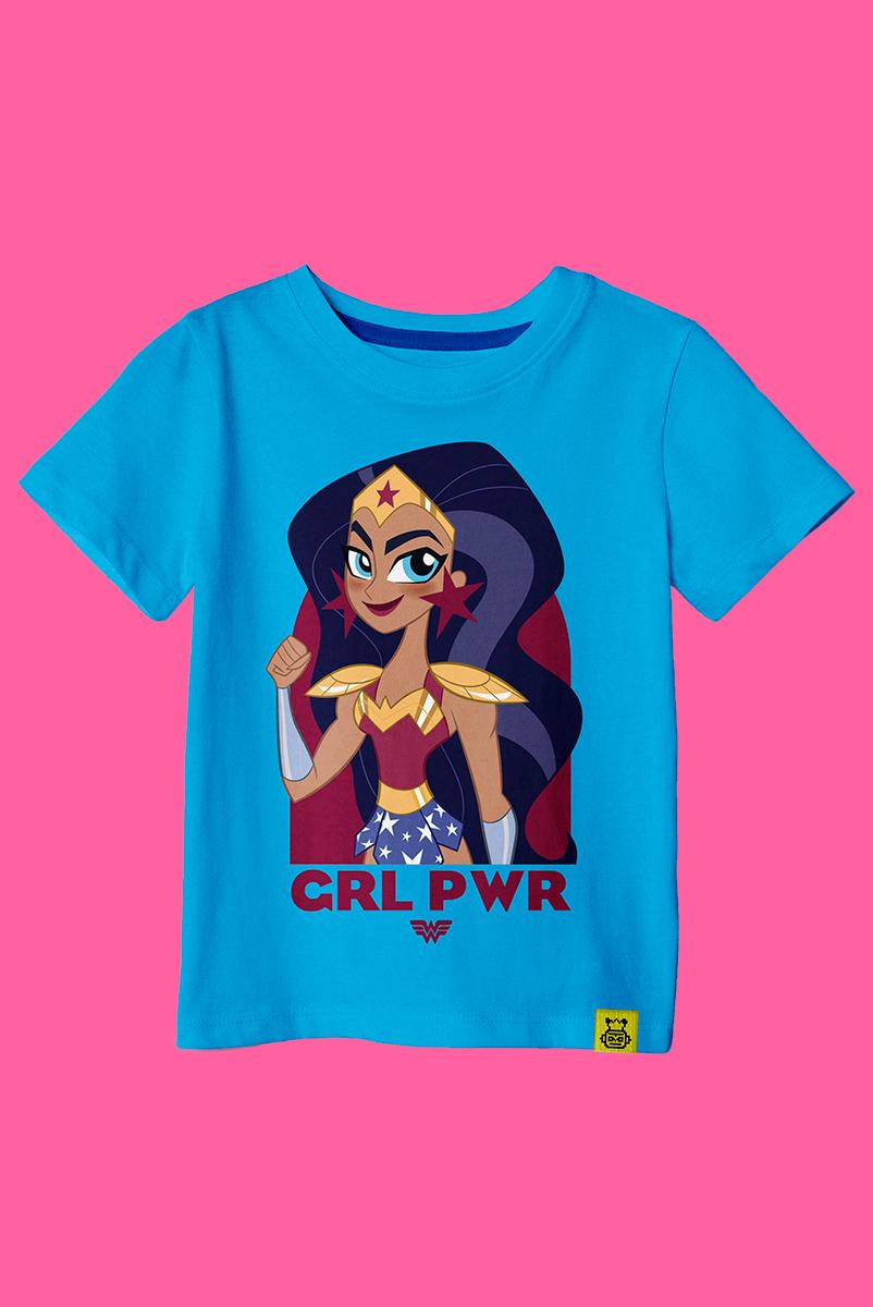 Camiseta Infantil Mulher Maravilha Poderosa