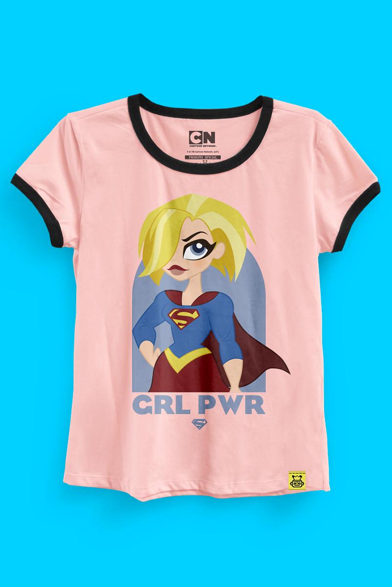 Camiseta Ringer Feminina Supergirl Poderosa