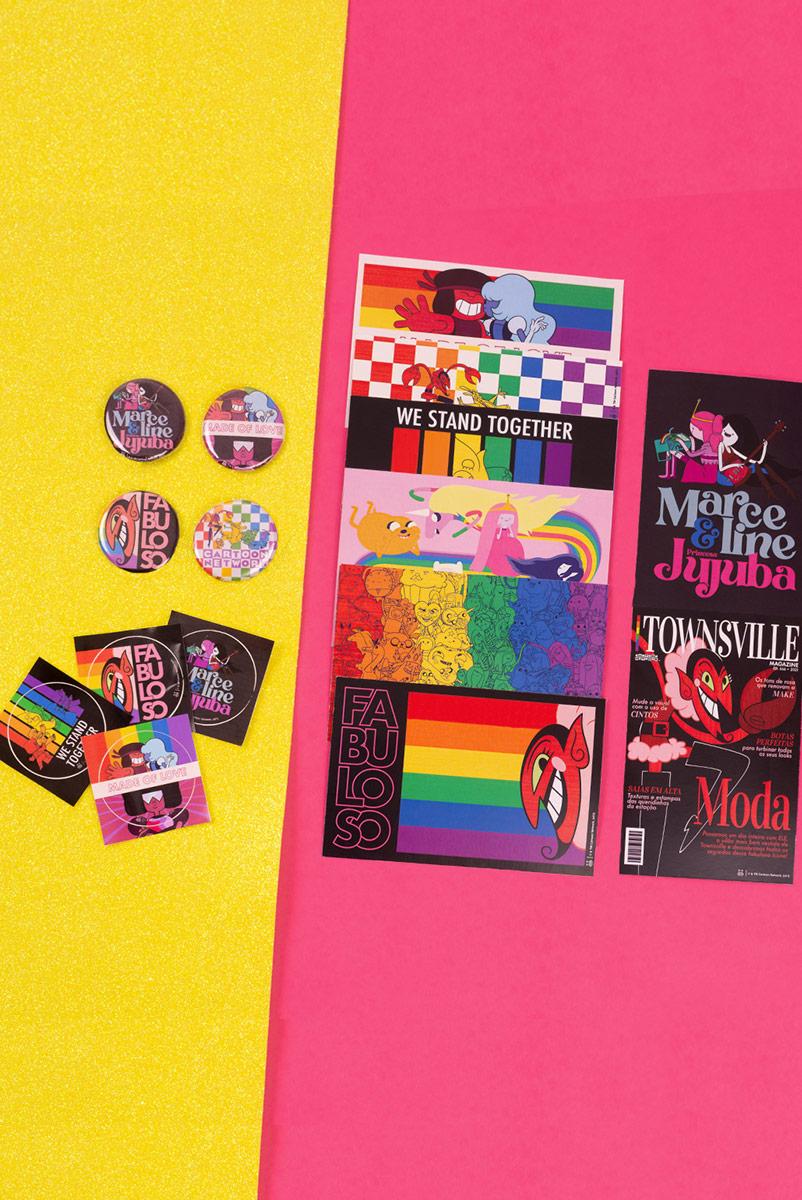 Kit Cartoon Network Pride Parade Buttons + Adesivos + Cards