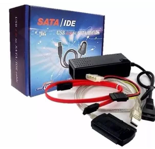 Cabo Adaptador Usb 2.0 Hd Conversor P/ Ide Sata Fonte 3 Em 1 70.02.052