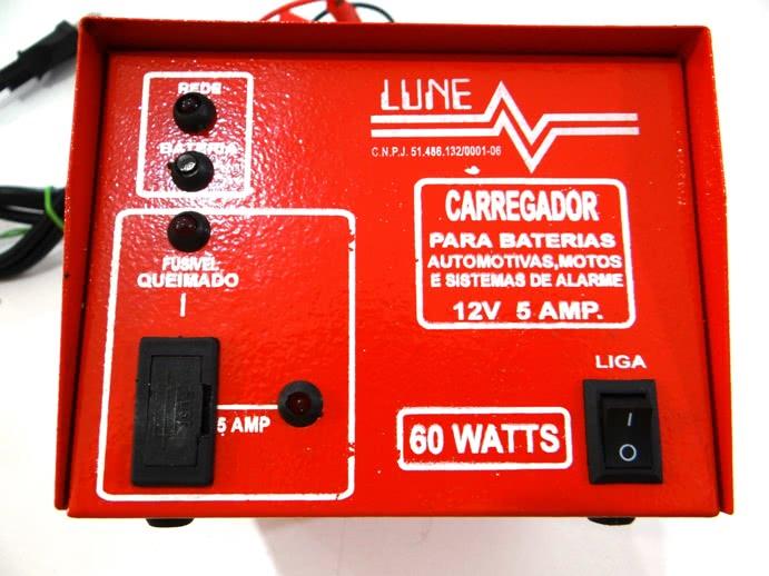 Carregador Bateria 12V X 5A Simples Lune