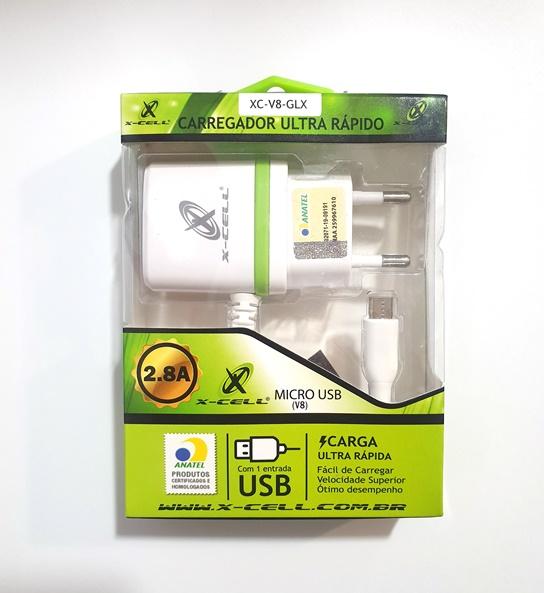 Carregador USB Duplo 2 x 2,8A  pino Micro USB XXC XC-V8-GLX  16.09.036
