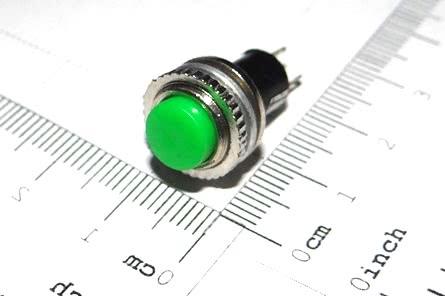 Chave Push-Button NA Redonda DS314 Verde A9 57.17.040VD Rosca Cima