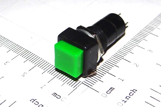 Chave Push-Button Trava Quadrada 3A PBS12A Verde C2 57.17.017VD