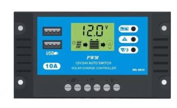 Controlador De Carga Solar 10a 12 e 24V Pwm C/ LCD USB 93.11.003