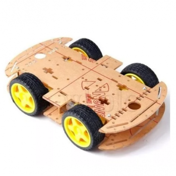 Kit Chassi Duplo 4wd Rodas Robótica Carro Robô Arduino 93.08.043
