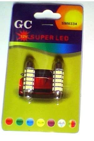 Lampada 12V X LEDS com 60 SMD Tipo Fusivel 6334 Auto com 2 Peças 22.032