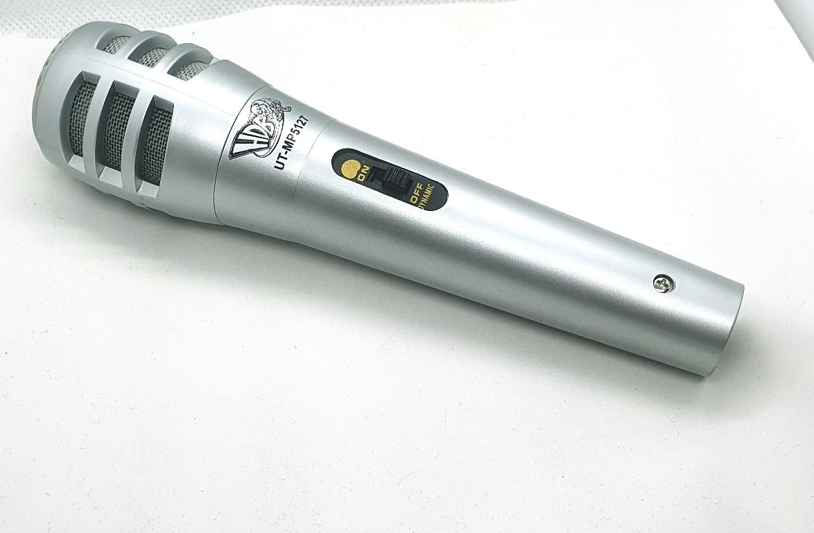 Microfone com Fio Dinamico Karaoke Prata 49.04.011PR