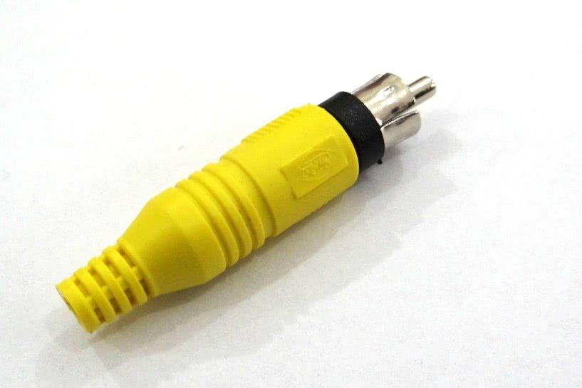 Pino RCA Rabicho Emborrachado 4mm Amarelo 25.01.051AM