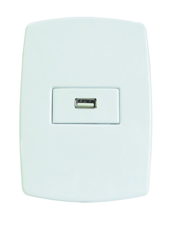 Tomada USB Embutir Bivolt Automatica Modelo Perola 30.10.012