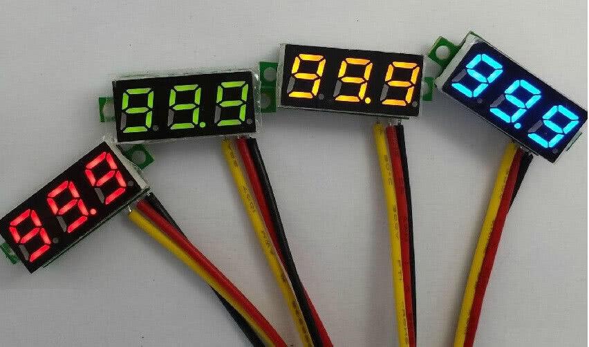 Voltímetro Digital DC Vermelho - Alimentação 4,5 a 30V 46.049