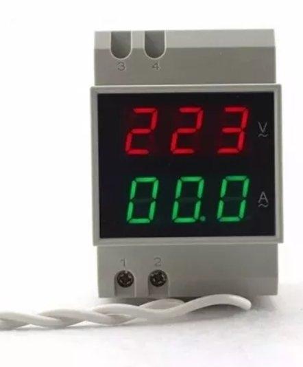 Voltímetro e Amperimetro Digital AC 80-300v 100A Led Ac Din Rail 46.069