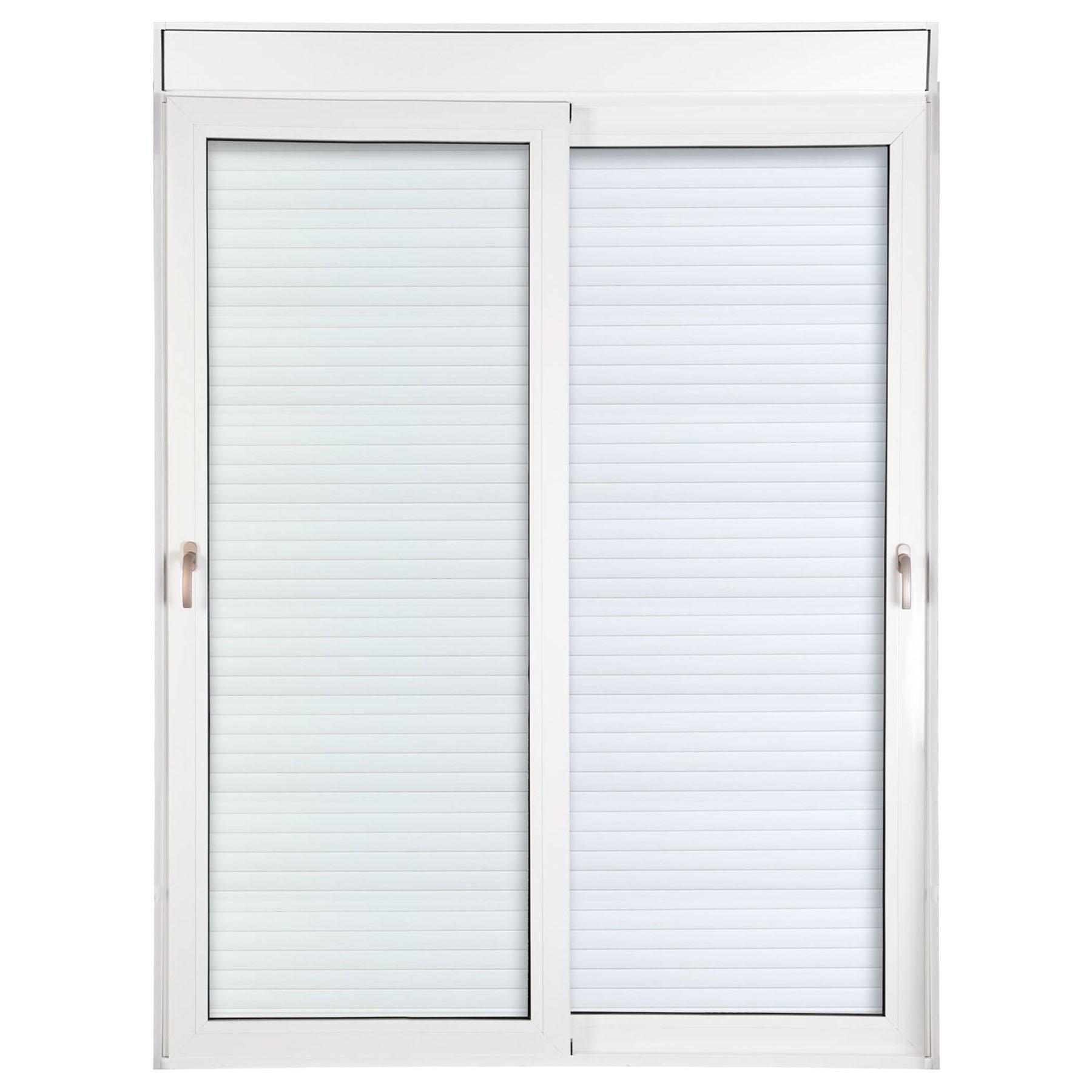 Porta 2 folhas de Correr com Vidro com Sem Travessa e Persiana Automática 220V com Fecho Multiponto - 150x235 - Veneza