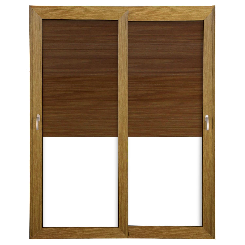 Porta 2 folhas de Correr cor Madeira com Vidro com Sem Travessa e Persiana Automática 220V com Fecho Multiponto - 150x235 - Veneza