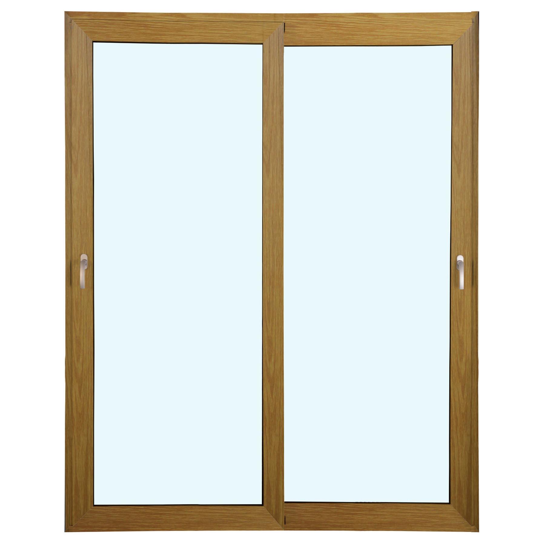 Porta 2 folhas de Correr cor Madeira com Vidro Sem Travessa com Fecho Multiponto - 150x215 - Veneza