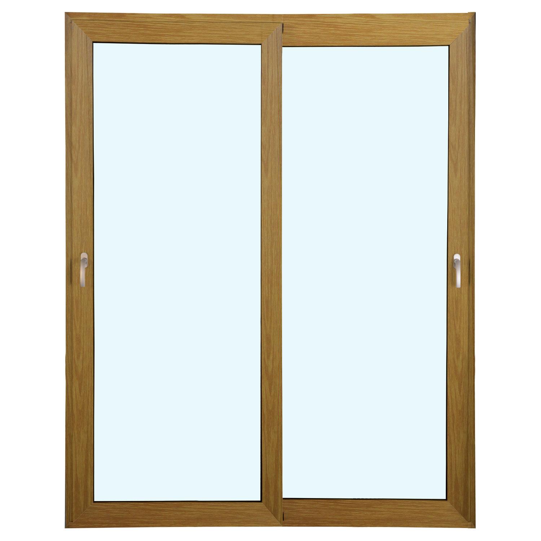 Porta 2 folhas de Correr cor Madeira com Vidro Sem Travessa com Fecho Multiponto - 200x215 - Veneza