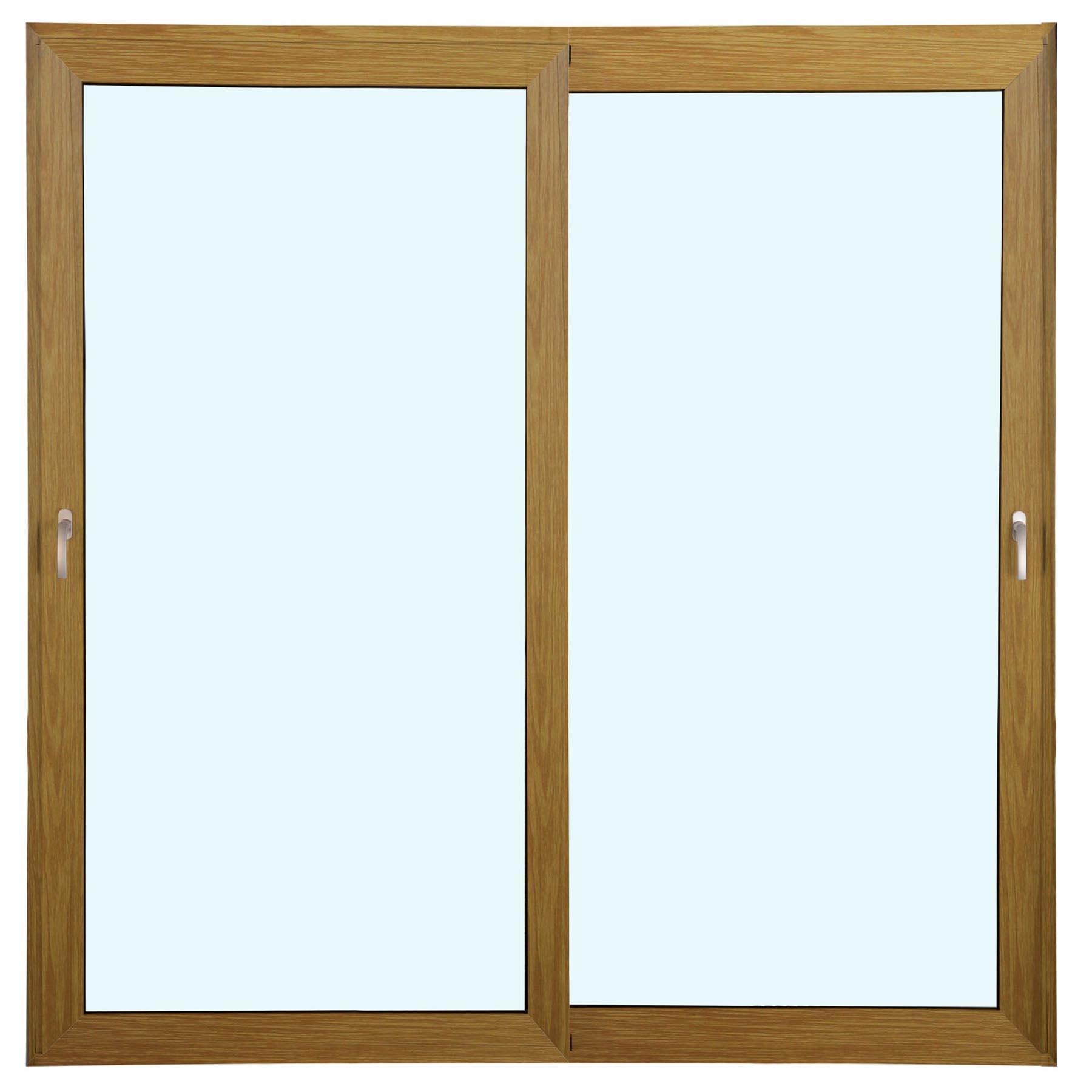 Porta 2 folhas de Correr cor Madeira com Vidro Sem Travessa com Fecho Multiponto - 300x215 - Veneza