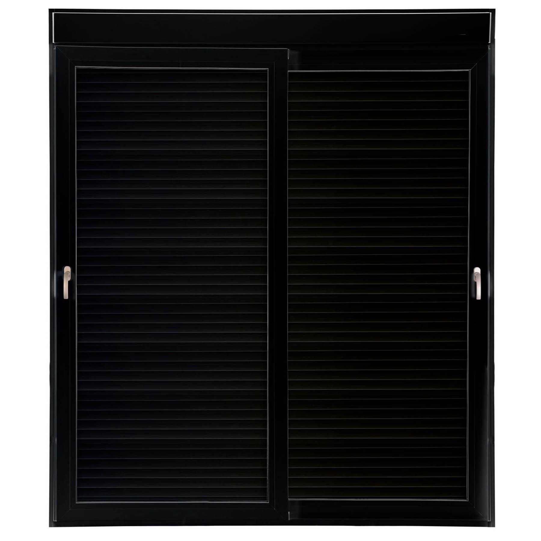 Porta 2 folhas de Correr cor Preta com Vidro com Sem Travessa e Persiana Automática 110V com Fecho Multiponto - 200x235 - Veneza