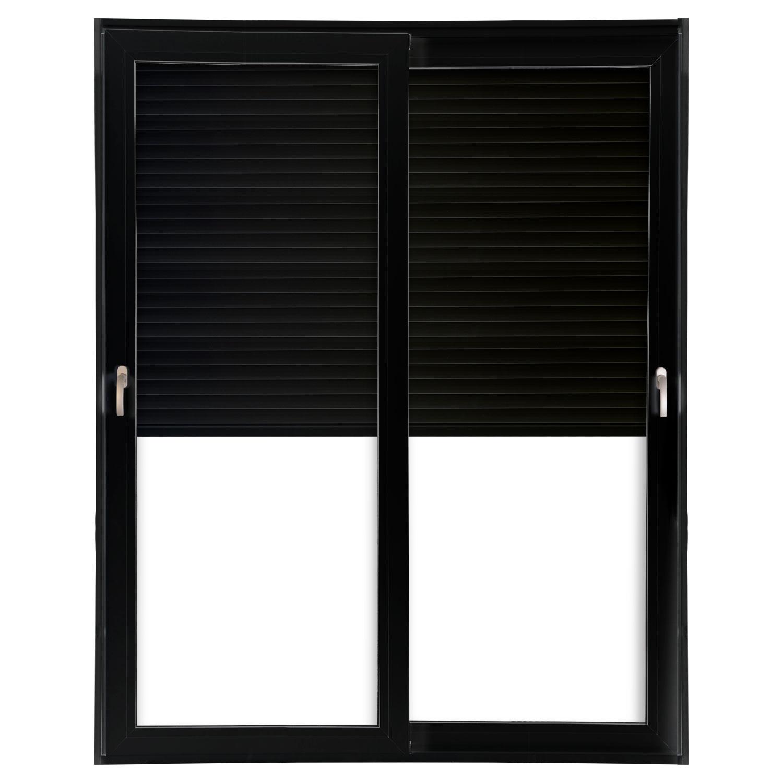 Porta 2 folhas de Correr cor Preta com Vidro com Sem Travessa e Persiana Automática 220V com Fecho Multiponto - 200x235 - Veneza
