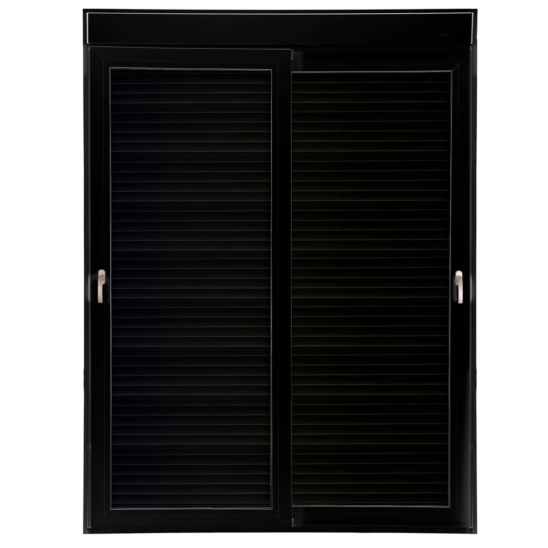 Porta 2 folhas de Correr cor Preta com Vidro com Sem Travessa e Persiana Automática 220V com Fecho Multiponto - 150x235 - Veneza