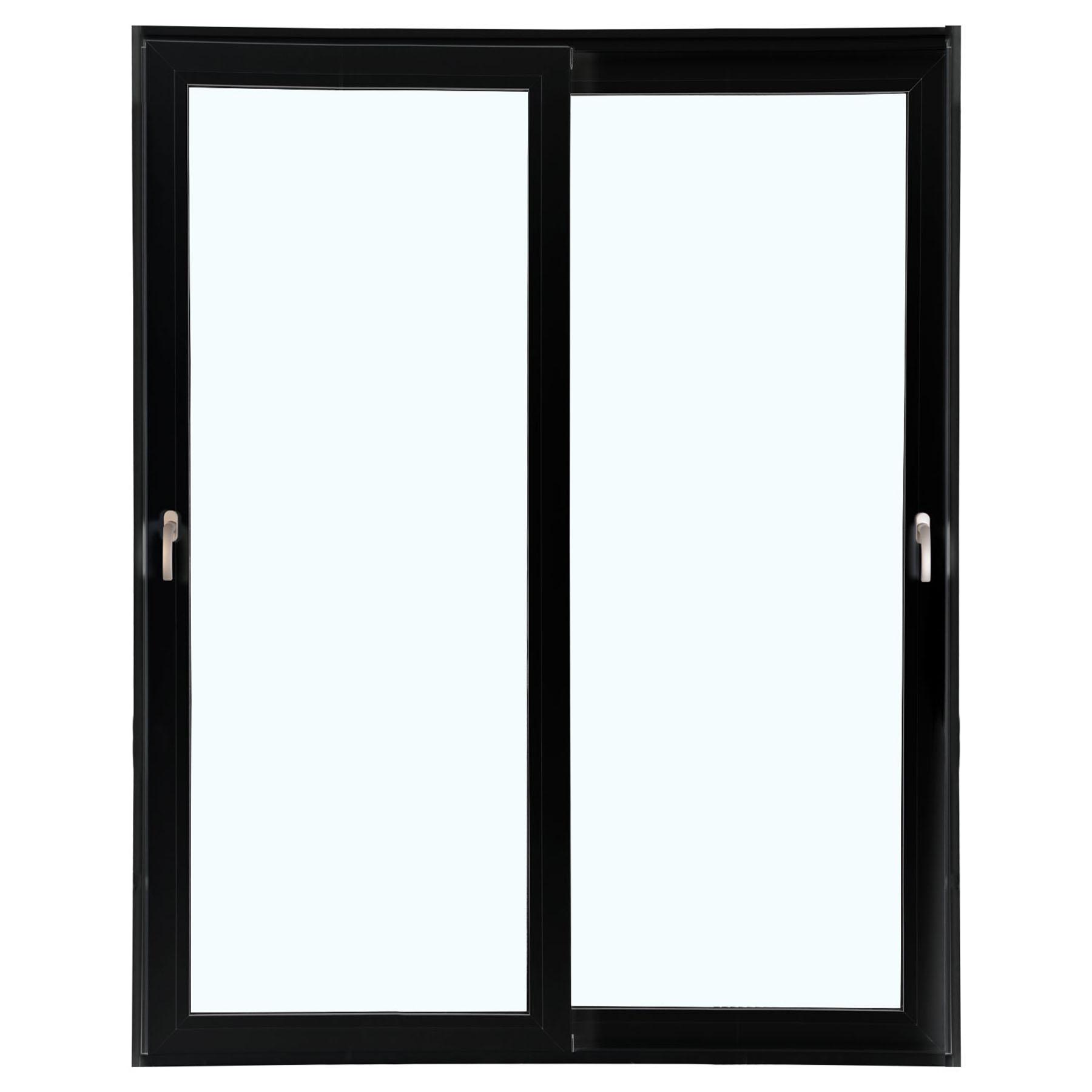 Porta 2 folhas de Correr cor Preta com Vidro Sem Travessa com Fecho Multiponto - 150x215 - Veneza