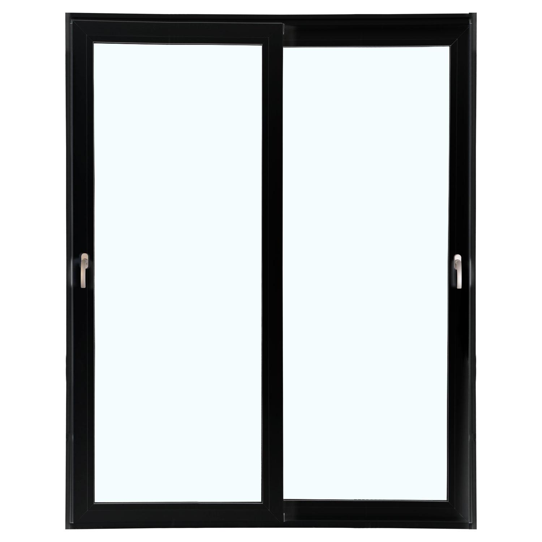 Porta 2 folhas de Correr cor Preta com Vidro Sem Travessa com Fecho Multiponto - 200x215 - Veneza