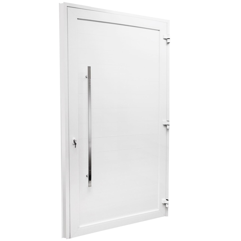 Porta de abrir 1 folha com lambri de 10 cm e puxador padrão inox de 100cm - fechadura monoponto ( lado Direito) - Sociale