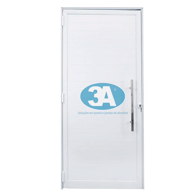 Porta de abrir 1 folha com lambri de 10 cm e puxador padrão inox de 60cm ( lado Direito) 88 x 215 - Idea
