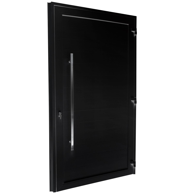 Porta de abrir 1 folha com lambri preta de 10 cm e puxador inox de 100cm - fechadura monoponto ( lado Direito) - Sociale