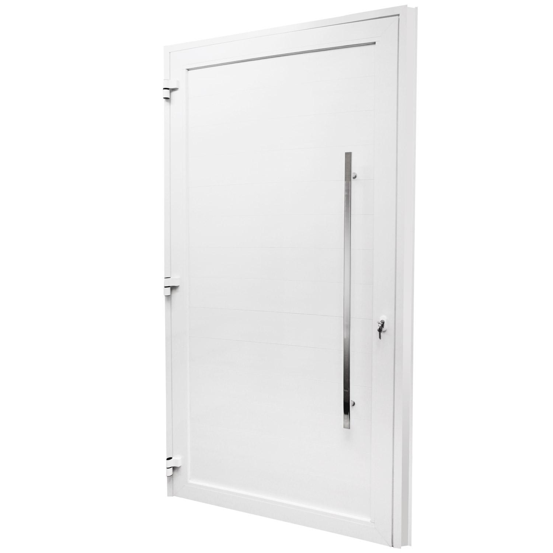 Porta de abrir 1 folha lambri 120 x 215 com puxador padrão inox de 100cm - fechadura multiponto ( lado esquerdo) - Sociale