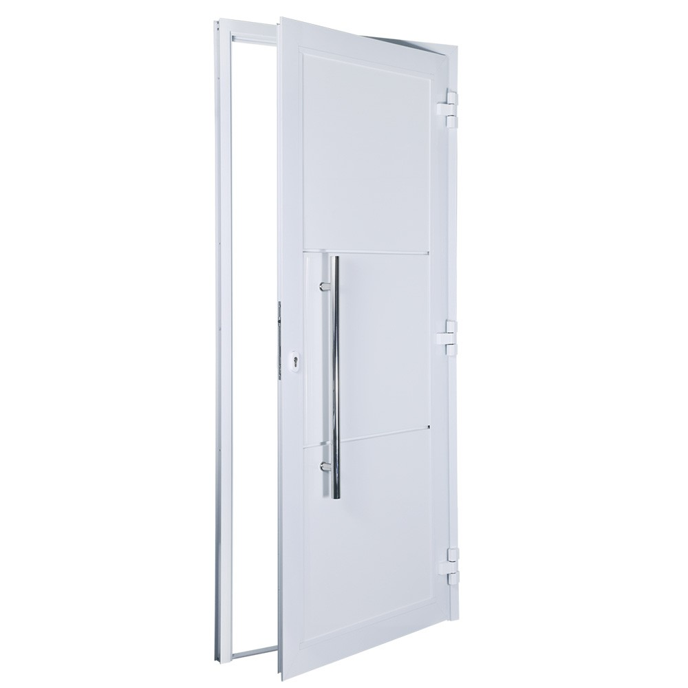 Porta de abrir 1 folha lambri 130 x 235 com puxador padrão inox de 100cm - fechadura multiponto ( lado esquerdo) - Sociale