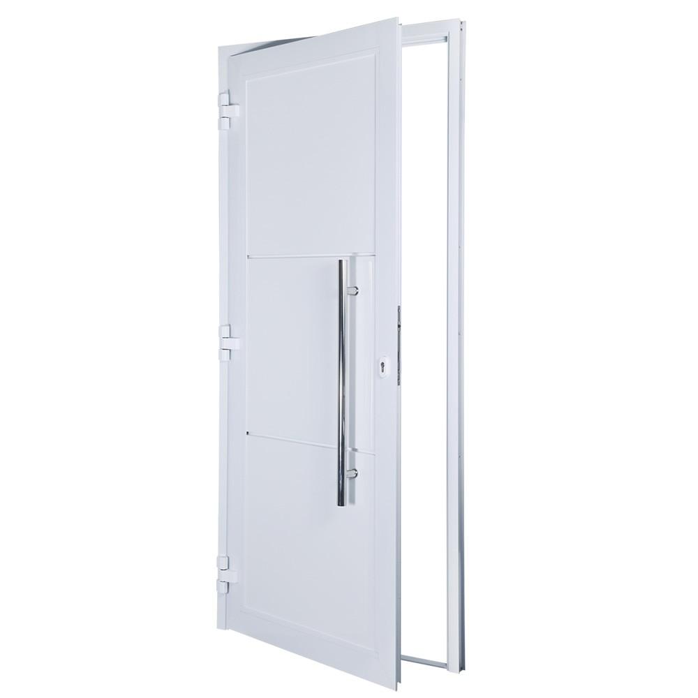 Porta de abrir 1 folha lambri 98 x 215 com puxador padrão inox de 100cm - fechadura monoponto ( lado esquerdo) - Sociale