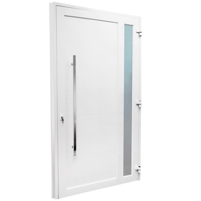 Porta de abrir 1 folha lambri com vidro 120 x 215 com puxador padrão inox de 100cm - fechadura monoponto ( lado esquerdo) - Sociale