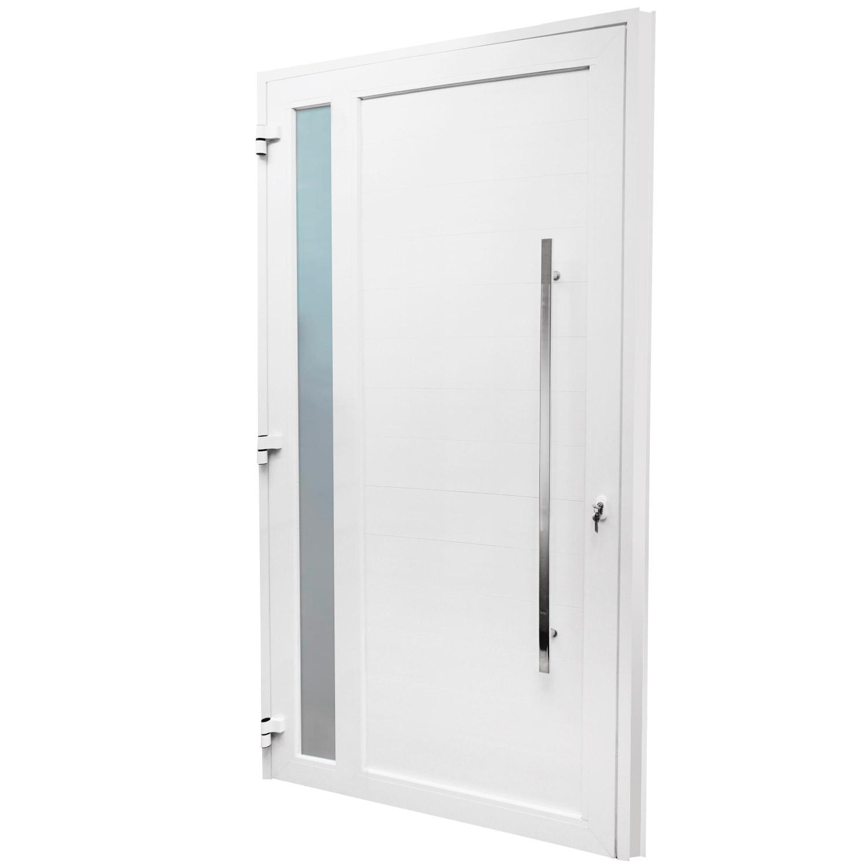 Porta de abrir 1 folha lambri com vidro 120 x 215 com puxador padrão inox de 100cm - fechadura multiponto ( lado direito) - Sociale