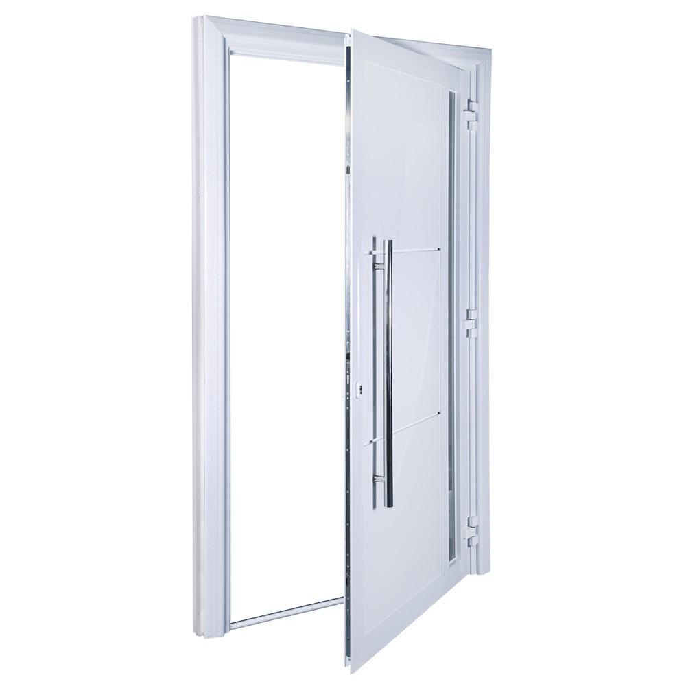 Porta de abrir 1 folha lambri com vidro 120 x 215 com puxador padrão inox de 100cm - fechadura multiponto ( lado esquerdo) - Sociale