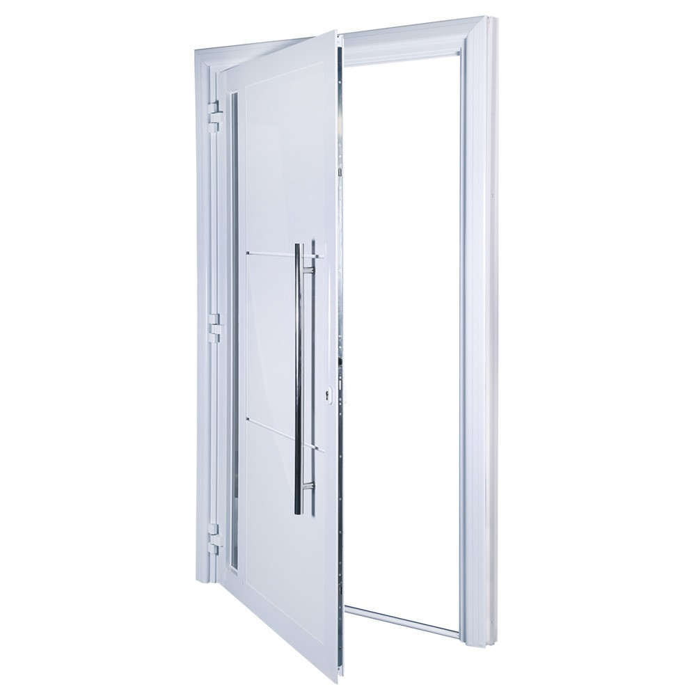Porta de abrir 1 folha lambri com vidro 130 x 235 com puxador padrão inox de 100cm - fechadura monoponto ( lado direito) - Sociale