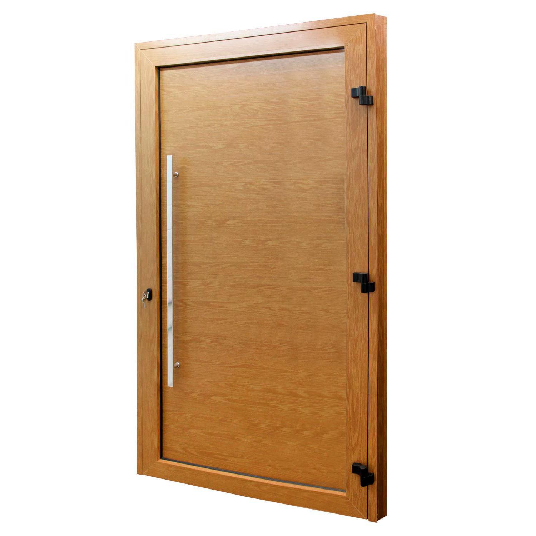 Porta de abrir 1 folha lambri cor madeira 98 x 215 com puxador inox de 100cm - fechadura monoponto ( lado direito) - Sociale