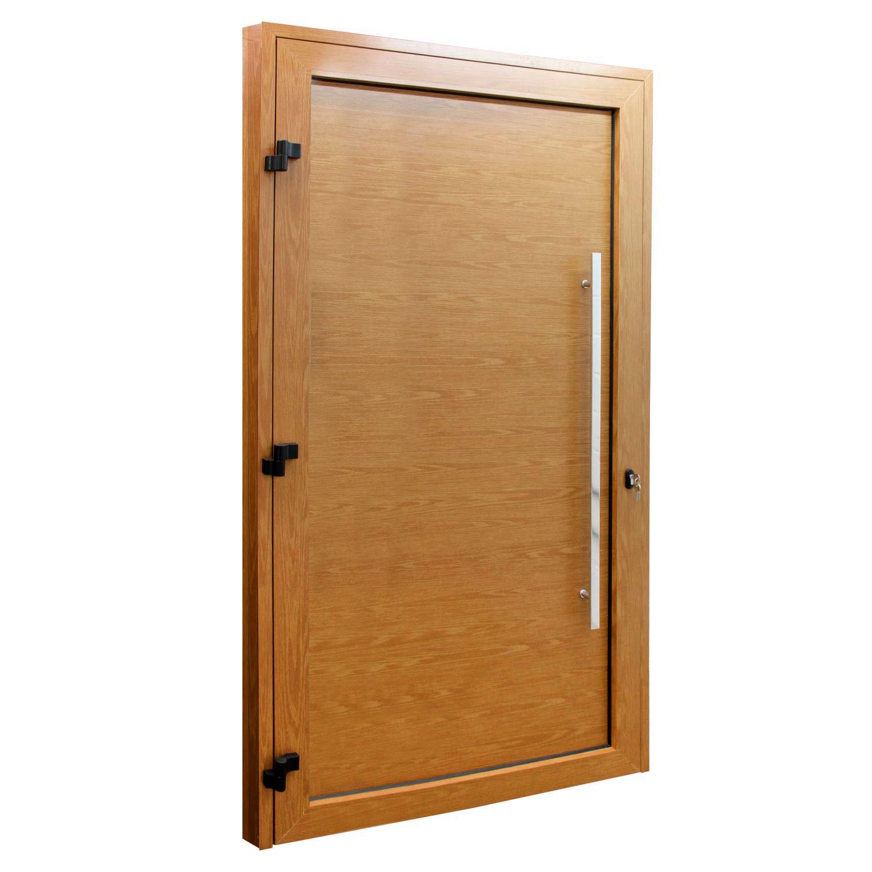 Porta de abrir 1 folha lambri cor madeira 98 x 215 com puxador inox de 100cm - fechadura monoponto ( lado esquerdo) - Sociale