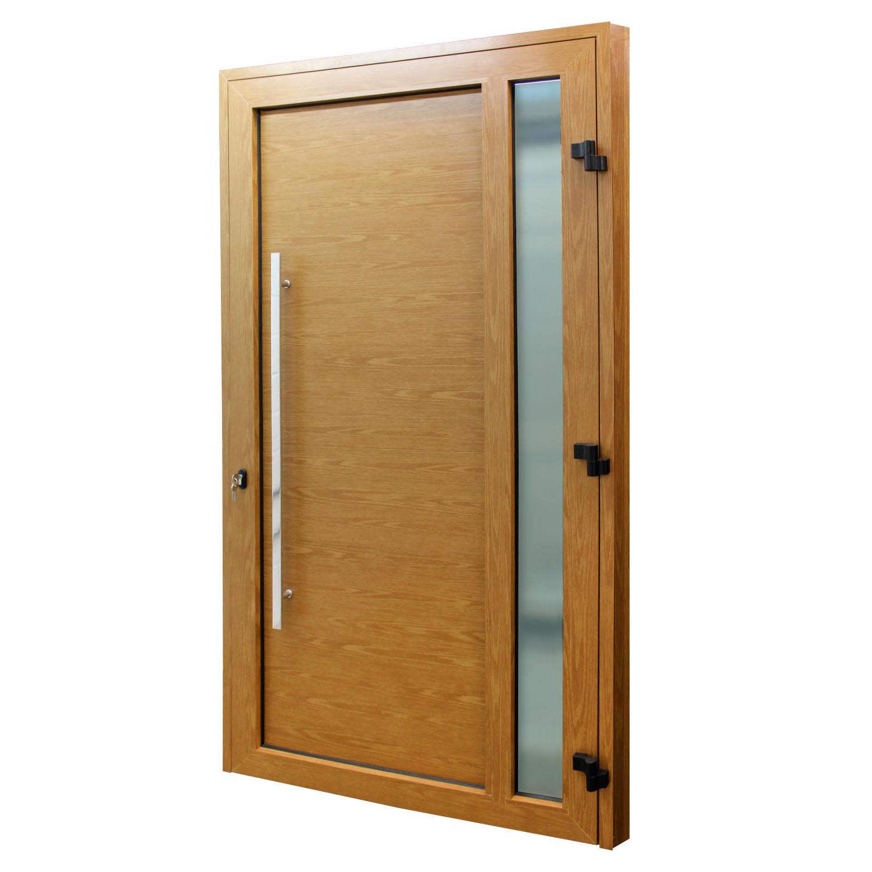 Porta de abrir 1 folha lambri cor madeira com vidro 120 x 215 com puxador inox de 100cm - fechadura monoponto ( lado direito) - Sociale