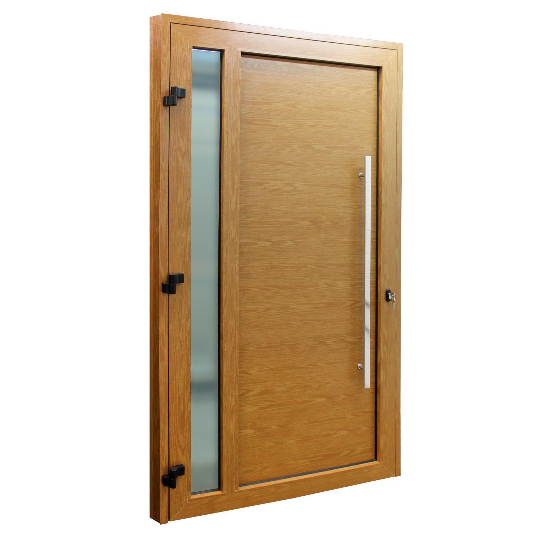 Porta de abrir 1 folha lambri cor madeira com vidro 120 x 215 com puxador inox de 100cm - fechadura multiponto ( lado esquerdo) - Sociale