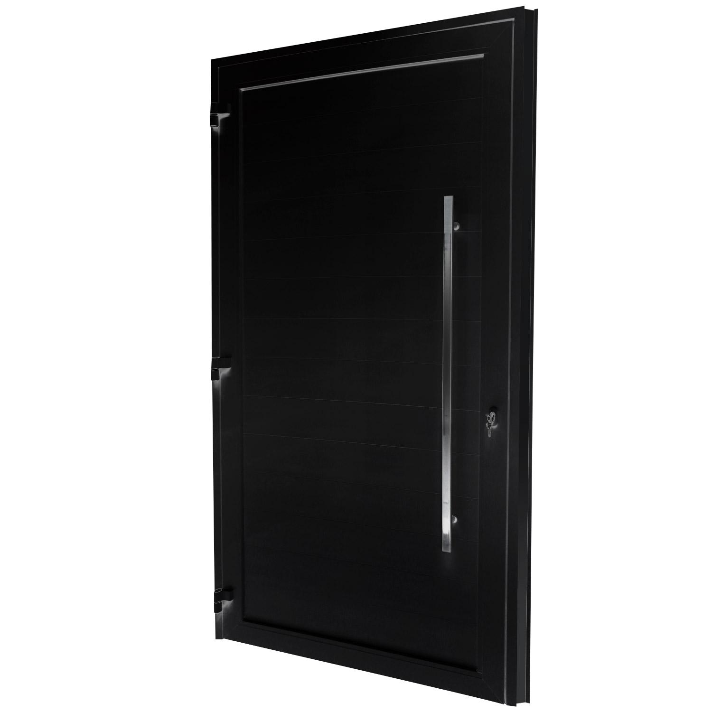 Porta de abrir 1 folha lambri preta 130 x 235 com puxador inox de 100cm - fechadura monoponto ( lado esquerdo) - Sociale