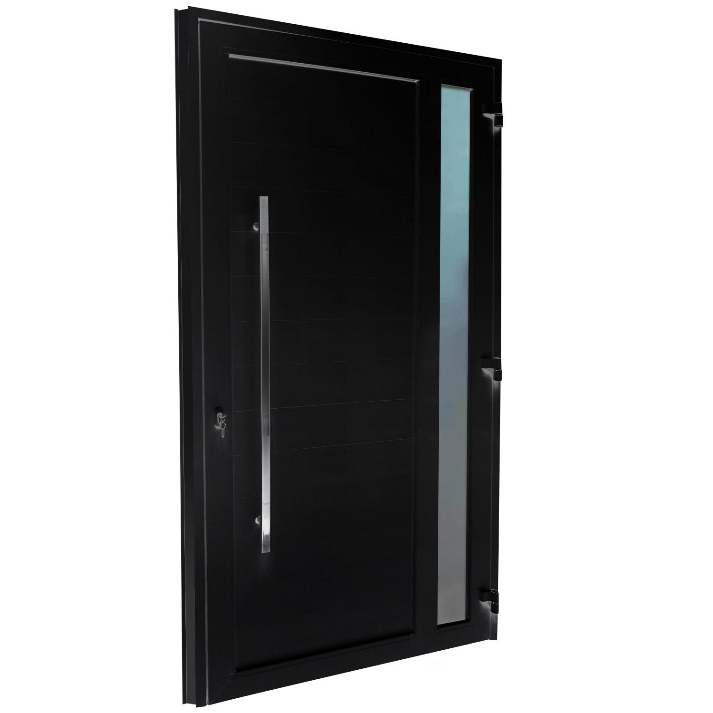 Porta de abrir 1 folha lambri preta com vidro 120 x 215 com puxador inox de 100cm - fechadura monoponto ( lado direito) - Sociale