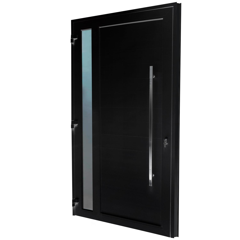 Porta de abrir 1 folha lambri preta com vidro 130 x 235 com puxador inox de 100cm - fechadura monoponto ( lado esquerdo) - Sociale